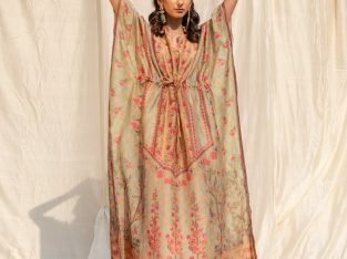 Green, Pink and Orange Printed Cotton Kaftan